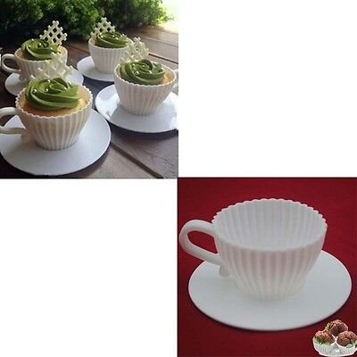 4 Sets of Silicone Cupcake Cups Muffin Baking Cake Tea Saucers Teacup Mold ws4WH