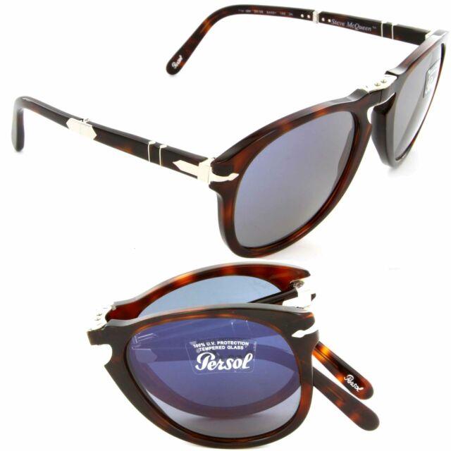 47009deafa7f Persol PO 714SM 24/56 52mm Steve McQueen Sunglasses Havana / Crystal Blue  Lens