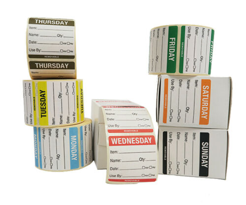 50mm Monday to Sunday Day of the Week Food Rotation Date Label Set.