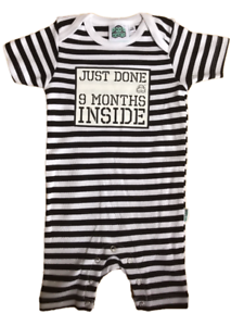 Baby Shower Gift Just Done 9 Months Inside® Short  Sleep Suit Black//White by L