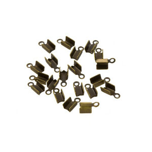 C54//2 Gold Plated Fold Over Jewellery Cord End Tip 8x3mm Pack of 20