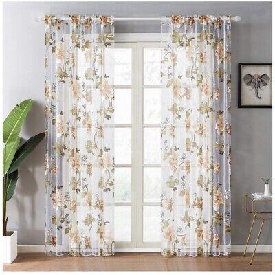Yokistg Window Curtains Double Panels, Double Rod Pocket Sheer Curtains