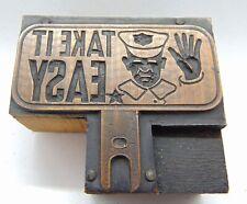 Printing Letterpress Printers Block Take It Easy License Plate Topper