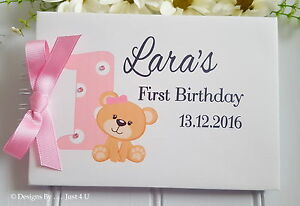 personalised 1st birthday twins girl boy guest book photo