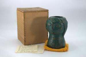 Japanese Bronze Face Flower Vase Ueki Riki w/box BOS270