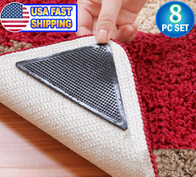 Reusable Carpet Rug Grippers Corner Area Rubber Anti Curling Non Slip 8pc Set