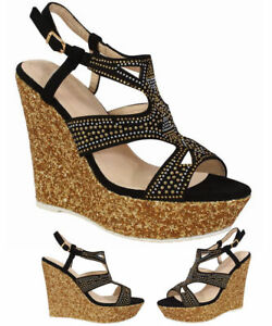 Women-039-s-Diamonted-Ladies-Sandals-High-Cork-Heel-Wedge-Summer-Holiday-Girl-Shoes