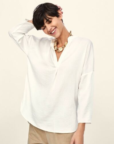 ZARA CREASED EFFECT FABRIC V NECK TOP BLOUSE SIZE L new