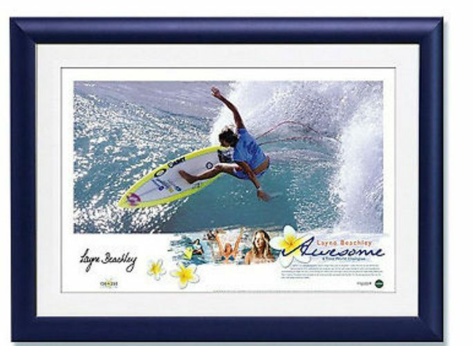LAYNE BEACHLEY HAND SIGNED FRAMED LIMITED AWESOME' SURFING WORLD CHAMPION PRINT