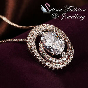 18K-Rose-Gold-Plated-Simulated-Diamond-Studded-Oval-Cut-Halo-Necklace-Jewellery