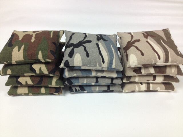 Camouflage CAMO Cornhole Bags 8 ACA Regulation Set  3 COLORS  MADE IN THE USA