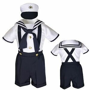 4e2066d07 Baby Boy Toddler Formal Party Nautical Navy Sailor Suit Outfits SZ ...