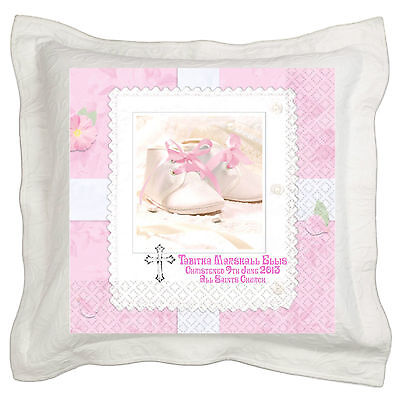 "Personalised Christening Naming Ceremony Cushion Cover 18/""x18/"" Baptism"