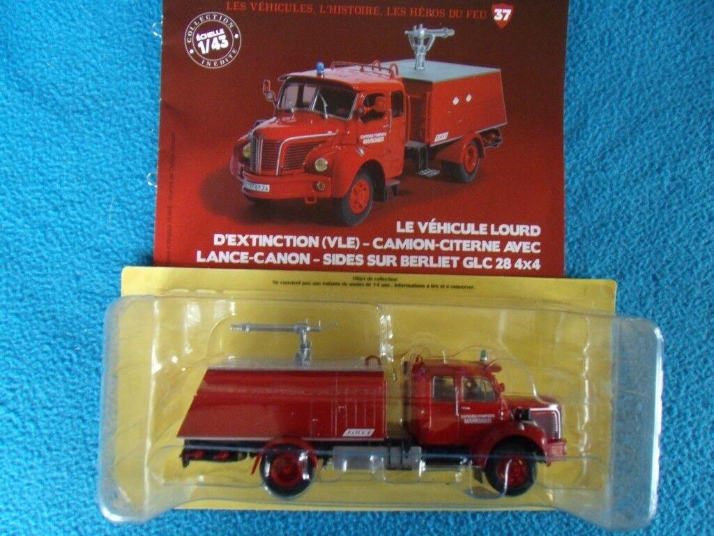 N° 37 BERLIET GLC 28 4x4 Camion Sapeurs Pompiers de MARIGNIER 74 au 1 43 Neuf