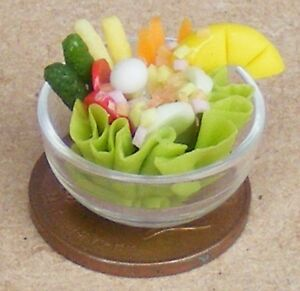 1-12-Scale-Tossed-Salad-In-A-Glass-Bowl-Dolls-House-Miniature-Food-Accessory-Nk