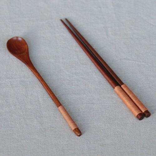 Antique Wood Spoon Chopsticks Soup Rice Soup Dessert Spoon Drinking Tools FZY