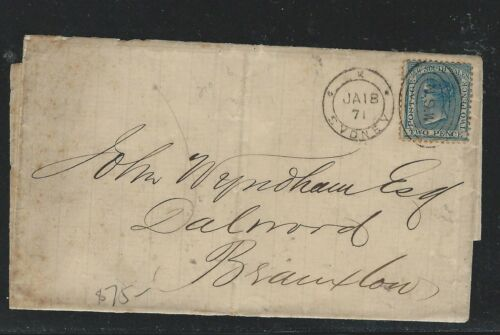 NEW SOUTH WALES P1306B 1871 JAN QV 2D COVER TO BRAXTON