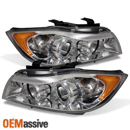 Fits 2006-2008 BMW E90 3-Series Chrome Dual Halo Projector Headlights+Eyes Lip