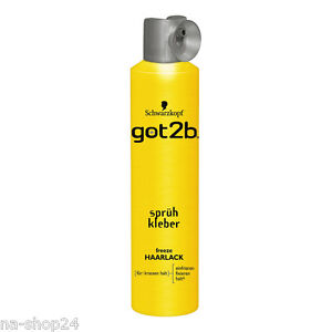 (17,50€/L) 300ml Schwarzkopf got2b Haarspray Sprühkleber Haarlack freeze Styling