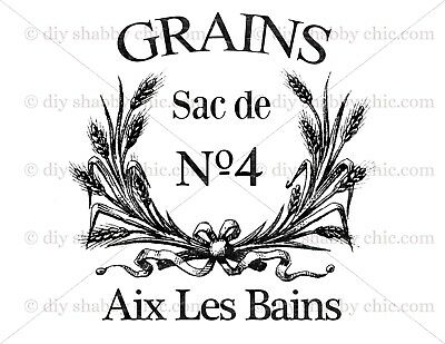 Furniture Decal Image Transfer Vintage Antique French Sack Art Typography Sign