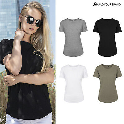 Build Your Brand Women/'s Wide Neck Tee BY039