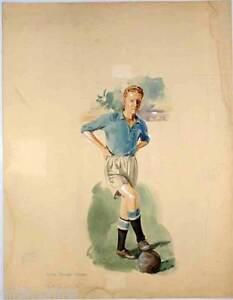 Karl-Erik-Calle-Palmer-Kalle-Fussball-Schweden-Aquarell-Kurt-Norstrand-1950