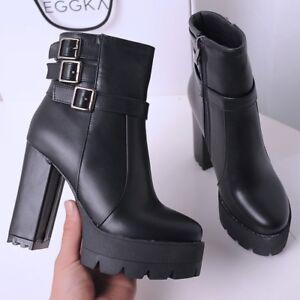 Women/'s Block High Heel Round Toe Platform Side Zipper Riding Ankle Boots Black