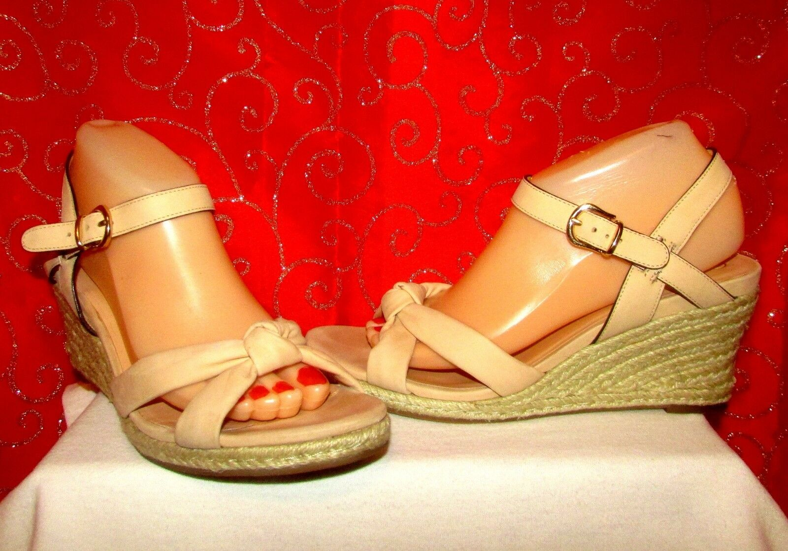 COLE HAAN CYNTHIA NUDE BEIGE LEATHER OPEN TOE TOP KNOT WEDGE SANDALS SZ 9 EUC
