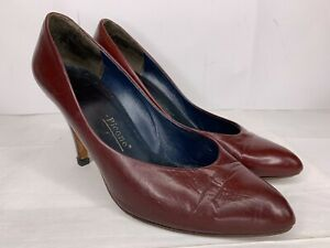 Vtg-Evan-Picone-Maroon-Italian-Leather-Womens-Shoes-High-Heels-Pumps-Italy-Sz-7M
