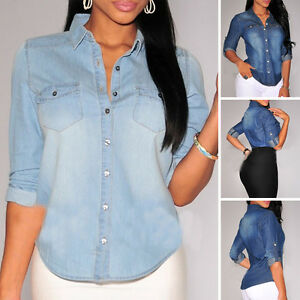Mujer-Manga-Larga-Informal-Azul-Mezclilla-De-Algodon-Camisas-Camiseta-Verano