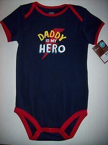Carter-039-s-Creeper-Bodysuit-1pc-24-Mos-Navy-Daddy-is-my-Hero-Wiggle-In