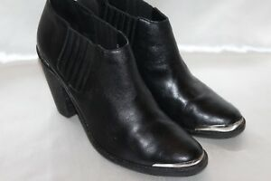 dc04a47d8e9 DOLCE VITA Black Leather CORAL Metal Toe Ankle Boots Booties Sz 9.5 ...