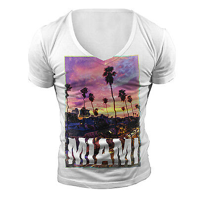 DEEP V NECK MIAMI TSHIRT T SHIRT TOP NEW WHITE TOWIE GEORDIE SHORE MUSCLE VEST
