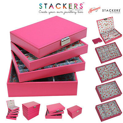 Stackers Classic Size In Pink Floral Design Jewellery Boxes Create Your Own Sets