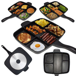 Black-Square-Baking-Pan-Non-Stick-Five-in-one-Divide-Grill-Fry-Oven-Meal-Skillet