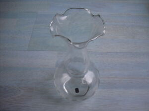 Glasvase-Blumenvase-Tischvase-Vase-Glas-Klar-bluetenform-Wellenschliff-22-cm-Hoch
