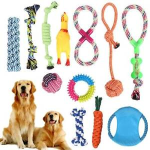 12pc-Dog-Rope-Chew-Toys-Kit-Tough-Strong-Knot-Ball-Pet-Puppy-Cotton-Teething-Toy