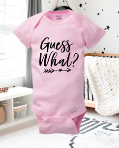 Pregnancy Announcement Onesie Gender Reveal Girl Guess What