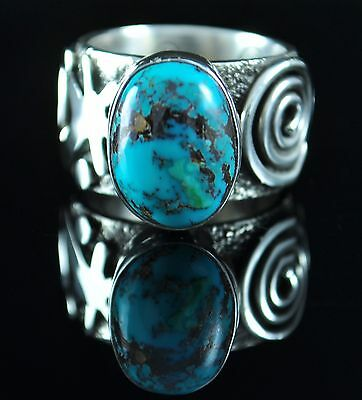 Sterling Silver Navajo Petroglyph Design Ring Royston Turquoise By Alex Sanchez