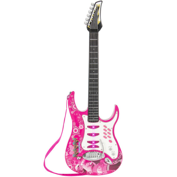 best choice products kids electric guitar play set pink for sale online ebay. Black Bedroom Furniture Sets. Home Design Ideas