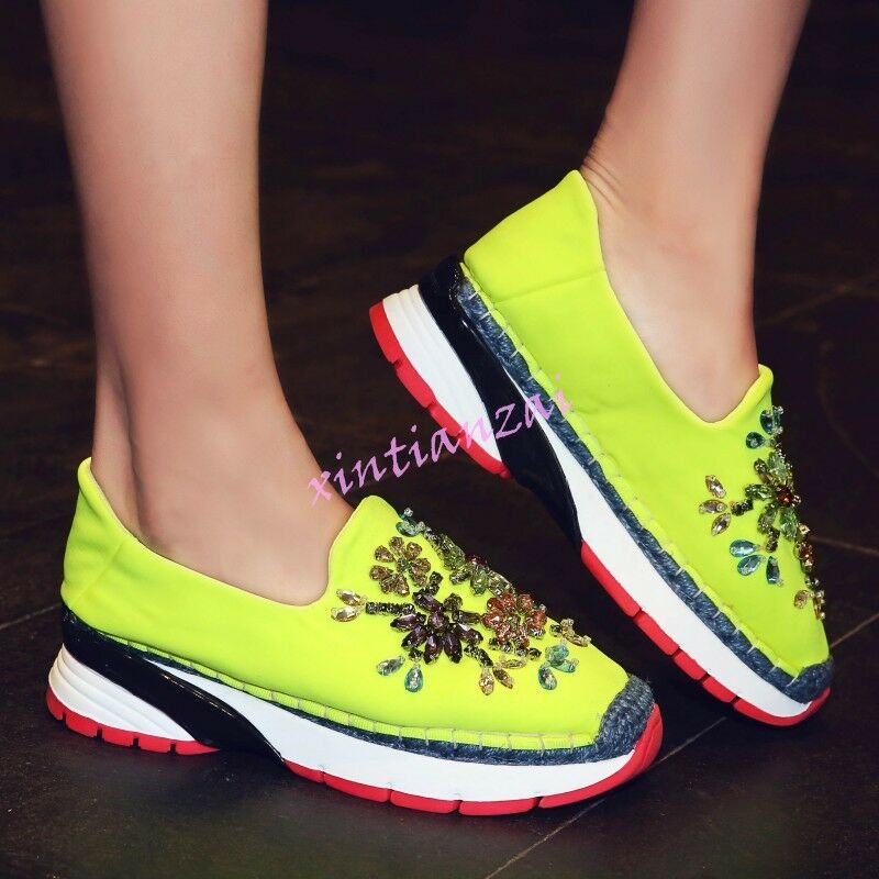 Womens Slip On Floral Rhinestone Athletic Casual Fishman Shoes Comfort Sneaker