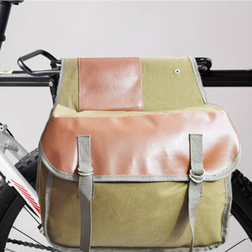 Canvas Bicycle Bike Pannier Rear Seat Bag Rack Trunk 35L Grocery Carrier