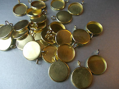 16MM ROUND CABOCHON MOUNT,CONNECTOR SETTING, GOLD COL,CHOSE 5,10(CM8)