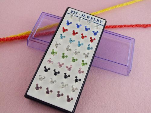 40pcs//Box Argent Multi-couleur mignon Mickey Mouse strass oreille Boucles D/'oreilles Clou