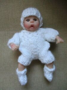 Doll-Clothes-White-3pc-Hand-knitted-suit-sleeper-for-mini-baby-fit-A-Drake-6in