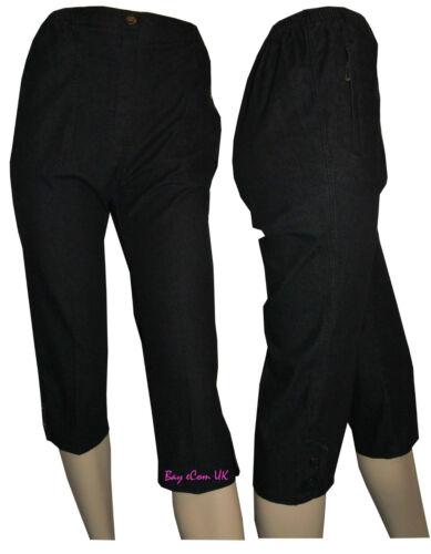 Mesdames capri Pour Femme Décontracté 3//4 Pantalon culture Élastique Poches zippées Shorts d/'été