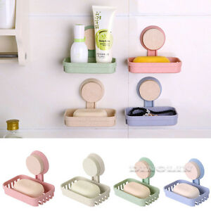 Vacuum-Suction-Cup-Soap-Dish-Box-Bathroom-Wall-Mounted-Holder-Toilet-Shower-Tray