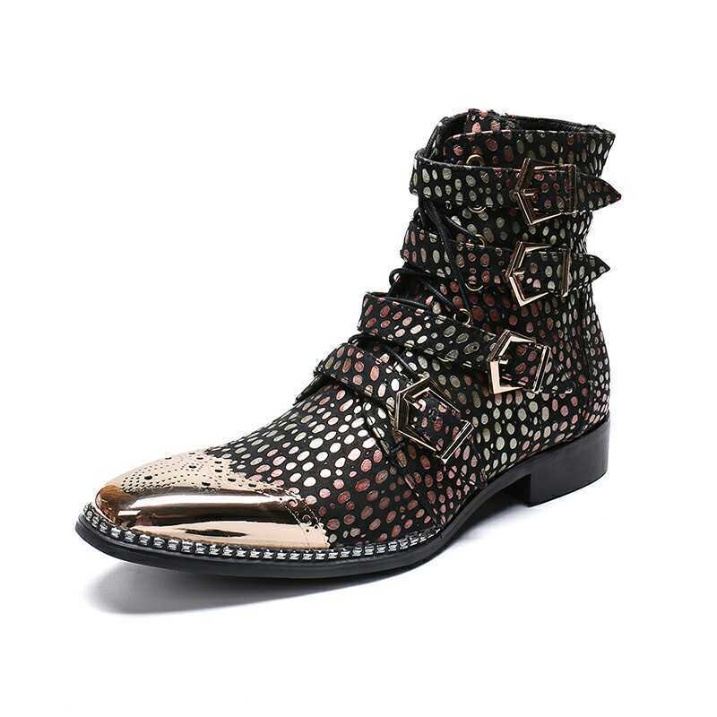 Mens Trendy British High Top Punk Ankle Boots Youth Party Nightclub Leather shoes