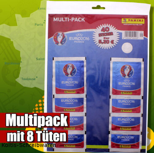 PANINI EM EURO 2016 France MULTIPACK con 8 cartocci Sticker NUOVO /& OVP