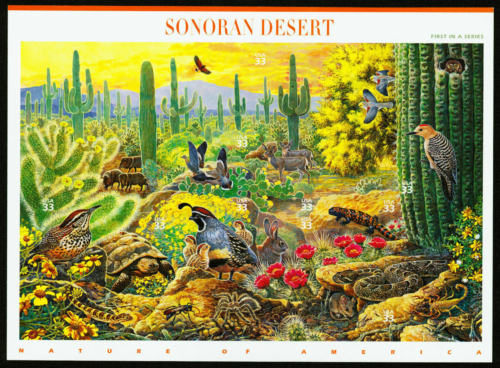 1999 33c Sonoran Desert, Sheet of 10 Scott 3293 Mint F/